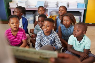 elementary school children in class